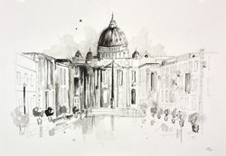 St Peter's Basilica, Rome Sketch II by Anna Gammans -  sized 22x16 inches. Available from Whitewall Galleries